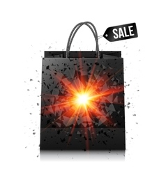 Black sale shopping bag with red explosion vector