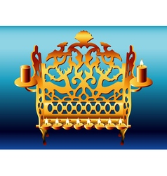 18th century poland hanukkah menorah vector