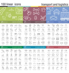 Thin line icons set for transportation vector