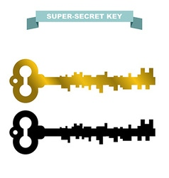 Super secret key Old vintage retro key lock Key vector image