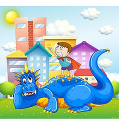 Boy and blue dragon in the park vector