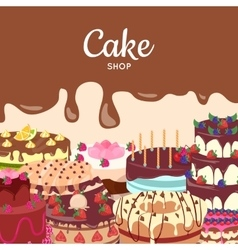 Cake Shop Flat Design Concept vector image