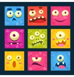 Cartoon monster faces set vector