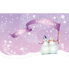 Christmas card snowmen vector image