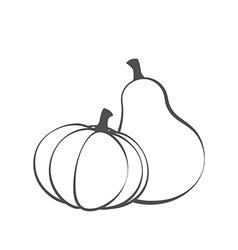 Couple pumpkins silhouette vector