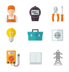 electrician service flat icon set vector image vector image