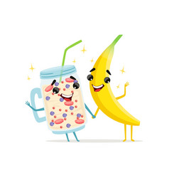 funny characters of banana and fruit smoothie vector image