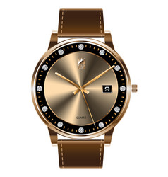 gold wristwatch diamond brown leather strap luxury vector image