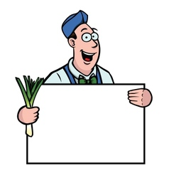 Greengrocer with leek and sign vector