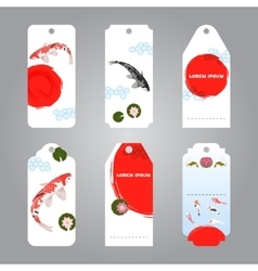 koi japanese style label tags vector image