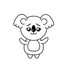 Line cute koala wild animal with face expression vector