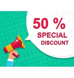 Megaphone with 50 percent special discount vector