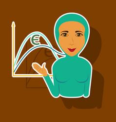 Paper sticker on theme arabic business muslim vector