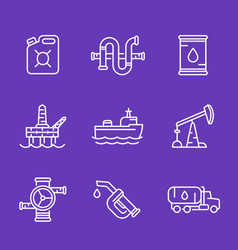 Petroleum industry oil and gas production icons vector