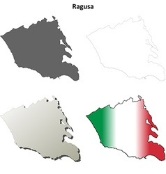 Ragusa blank detailed outline map set Royalty Free Vector