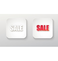 Sale icon white button with shadow vector image