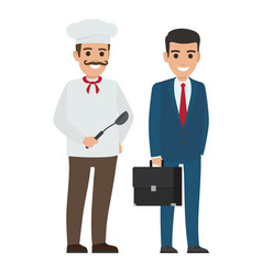 set of chef food and manager smiling persons vector image vector image