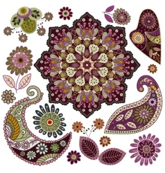 Set of paisley elements vector