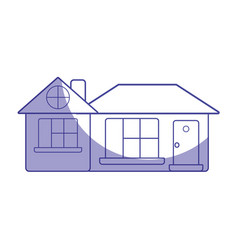 silhouette big house with roof and windows with vector image