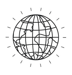 Silhouette front view globe earth world vector