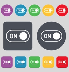 Start icon sign a set of 12 colored buttons flat vector
