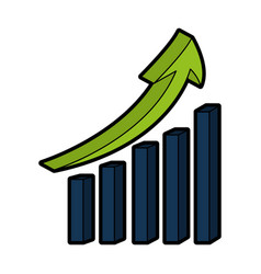 Statistics bars with arrow vector