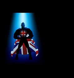 Superhero standing under blue light vector