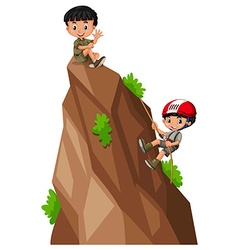 Two boys climbing up the mountain vector