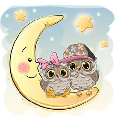 Two cute owls on the moon vector