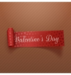 Valentines day scroll red ribbon with hearts vector