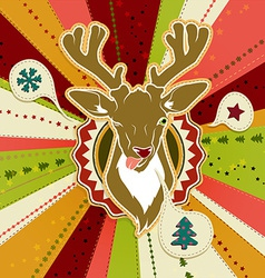 Vintage christmas card with deer showing his vector