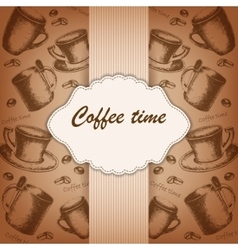 Vintage frame with hand-drawing sketch coffee vector