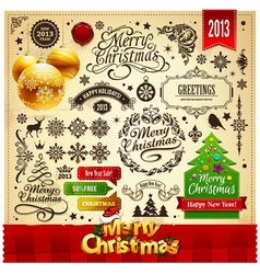 Merry Christmas Vintage elements vector image