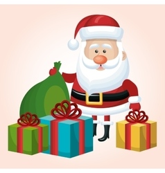 card merry christmas santa claus set gift and bag vector image