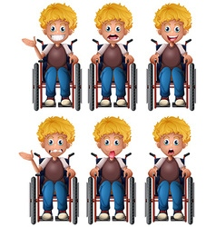 Boy on wheelchair with different emotions vector