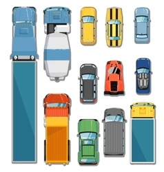 Cars and trucks top view set vector