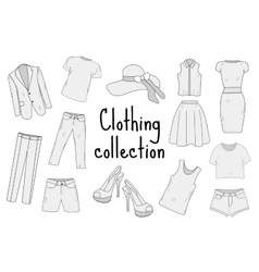 Clothing set hand drawing sketch doodle style vector