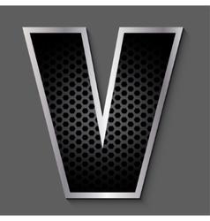 Metal grid font - letter V vector image