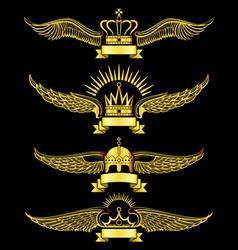 golden wing crown and ribbon royal logo set vector image