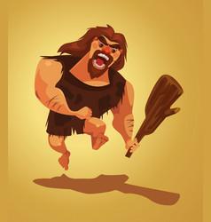 angry caveman character run vector image