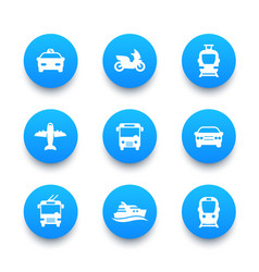 Passenger transport icons set bus subway tram vector