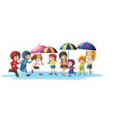 Kids in raincoats and umbrella vector