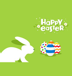 Happy easter rabbit and egg design greeting card vector