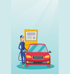 worker filling up fuel into car vector image