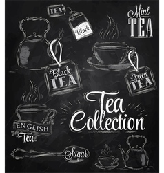 Set tea collection chalk vector