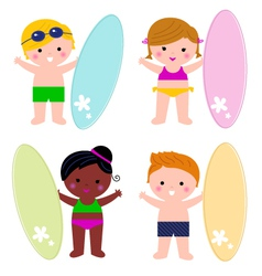 Cute little summer kids with surf set vector