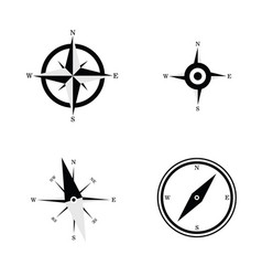 Compass navigate set in black and white color vector