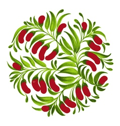 decorative ornament red berries vector image