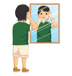 A boy facing the mirror vector