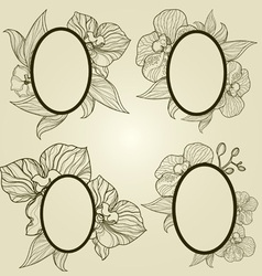 Vintage frames with flowers vector